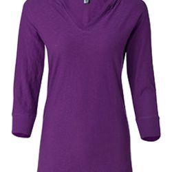 Ladies' 3/4-Sleeve Hooded Slub T-Shirt Thumbnail