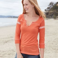 Women's Hailey Henley Three-Quarter Sleeve Shirt Thumbnail
