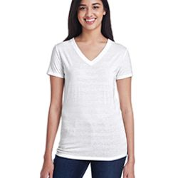 Ladies' Invisible Stripe V-Neck T-Shirt Thumbnail